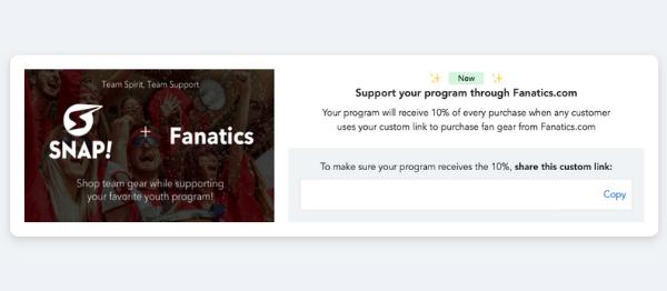 Screenshot of link creation for Snap plus Fanatics